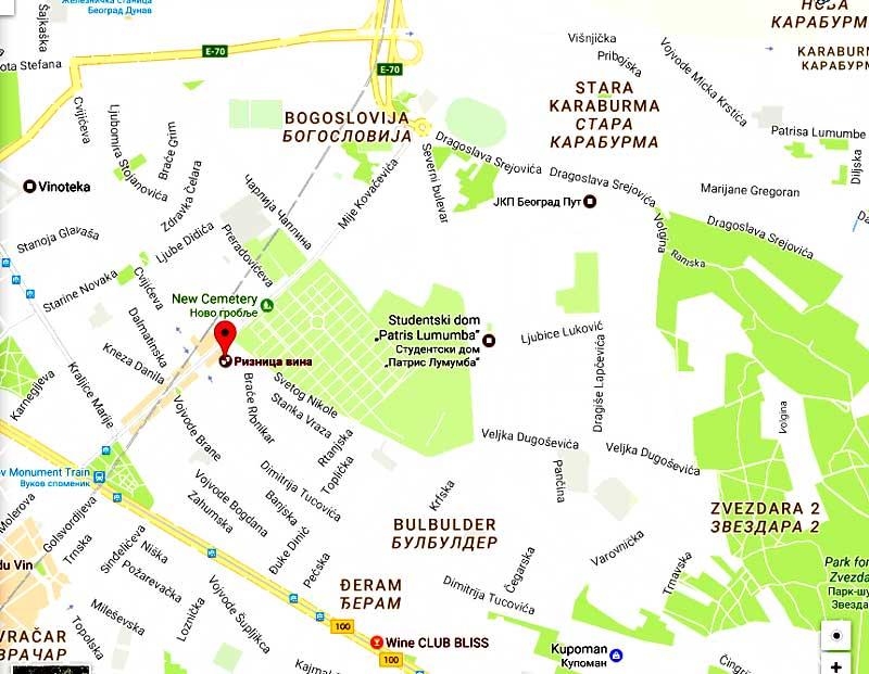 Riznica vina Beograd mapa
